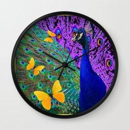 Purple-Blue Peacock  Yellow Butterflies Fantast Art Wall Clock