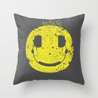 springsteen Throw Pillows featuring Music Smile V2 by Sitchko Igor