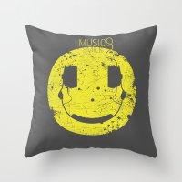 paramore Throw Pillows featuring Music Smile V2 by Sitchko Igor