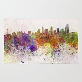 Seattle skyline in watercolor background Rug
