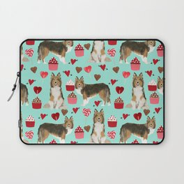Sheltie shetland sheepdog valentines day love hearts cupcakes dog gifts puppies pet friendly art Laptop Sleeve