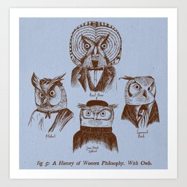 A History of Western Philosophy. With Owls. Art Print