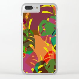 multicolored monstera Clear iPhone Case