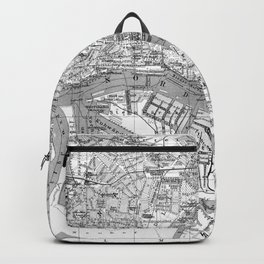 Vintage Map of Hamburg Germany (1910) 2 BW Backpack