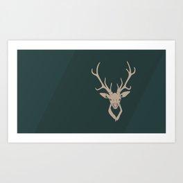Green Minimal Reindeer Art Print