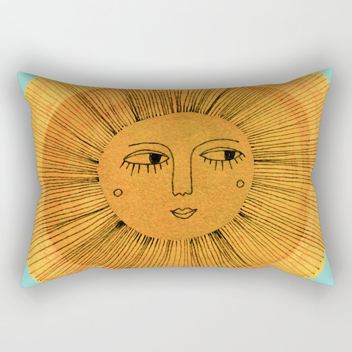 Sun Drawing Gold and Blue Rechteckiges Kissen