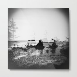 Tree Ghosts of the Oregon Coast - Black & White Double Exposure Metal Print