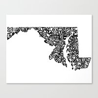 maryland Canvas Prints featuring Typographic Maryland by CAPow!