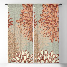 Festive, Floral Prints, Green, Terracotta, Red, Coloured Prints Blackout Curtain