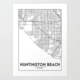 Minimal City Maps - Map Of Huntington Beach, California, United States Art Print