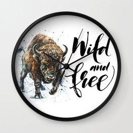 Buffalo Wild and Free Wall Clock