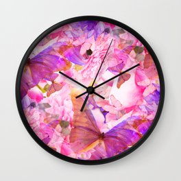 A Summer Dream Where Pink And Violet Butterflies Flying #decor #society6 #pivivikstrm Wall Clock