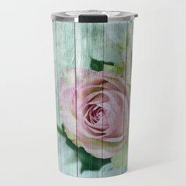 Vintage Shabby Chic Pink Roses On Wood Travel Mug