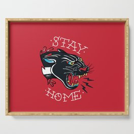 Stay Home Panther Tattoo Serving Tray