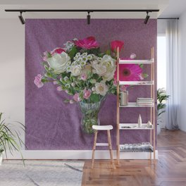 Flowers in a vase - pink gerberas, carnations, daisies, red and white roses Wall Mural