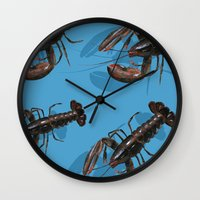 lobster Wall Clocks featuring Lobster by Trinity Mitchell