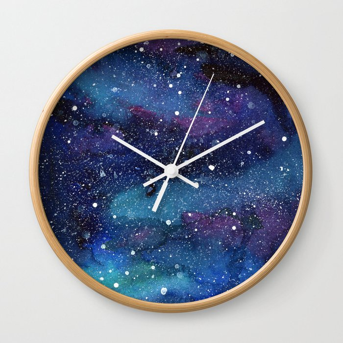 Galaxy Space Painting Stars Cosmic Universe Nebula Art Wall Clock By Olechka