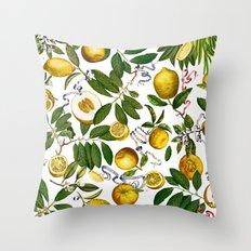 LEMON TREE White Throw Pillow