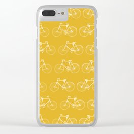 Saffron-Yellow Vintage Bicycle Pattern Clear iPhone Case