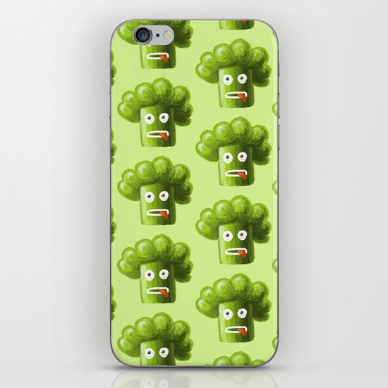 Green Funny Cartoon Broccoli iPhone & iPod Skin