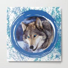 Blue-Eyed Wolf Metal Print