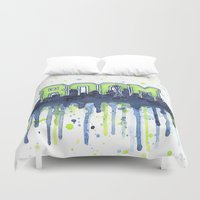seahawks Duvet Covers featuring Seattle 12th Man Seahawks Painting Legion of Boom Art by Olechka