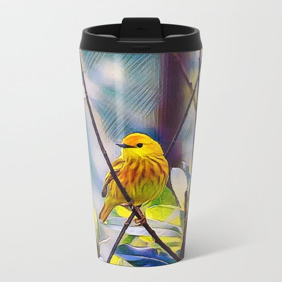 Sweet Yellow Warbler Metal Travel Mug