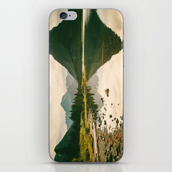 Mountain Reflecting the Lake in Many Glacier  iPhone Skin