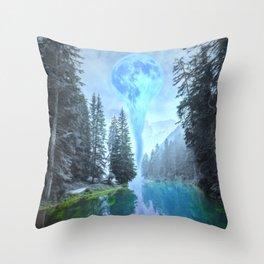 Melting Blue Moon Throw Pillow