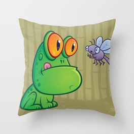 Frog and Dragonfly Throw Pillow