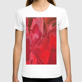 Fluid Nature - Burning Reds - Abstract Acrylic Pour Art T-shirt
