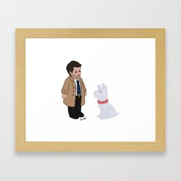 Castiel and Hell Hound Framed Art Print