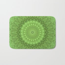 Sunflower Feather Bohemian Leaf Pattern \\ Aesthetic Vintage \\ Green Teal Aqua Color Scheme Bath Mat