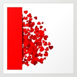 Hearts falling out of an envelope Art Print