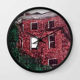 red brick house obstructed by trees linocut Wall Clock