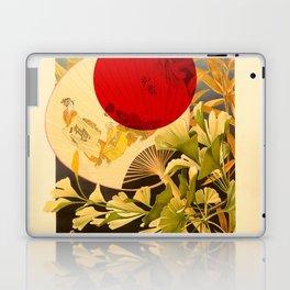Japanese Ginkgo Hand Fan Vintage Illustration Laptop & iPad Skin