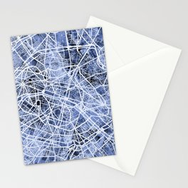 Paris France City Street Map Stationery Cards