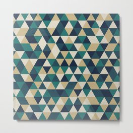 Foggy Petrol and Blue - Hipster Geometric Triangle Pattern Metal Print