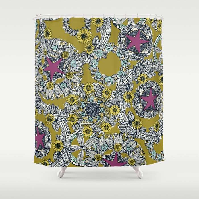 cirque fleur jalapeno grape star Shower Curtain