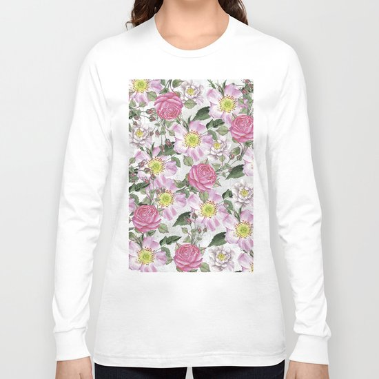 Vintage Rose Pattern Pink and White Long Sleeve T-shirt