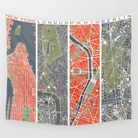 cities Wall Tapestries featuring Six cities: NYC London Paris Berlin Rome Seville by PlanosUrbanos