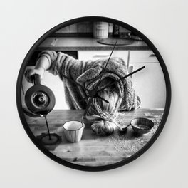 First I Drink the Coffee, Then I do the Stuff - hangover black and white photograph / photography Wall Clock