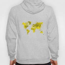 Yellow and black world map Hoody