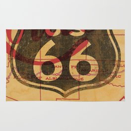 Route 66 Vintage Travel Poster Rug