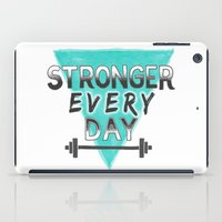 crossfit iPad Cases featuring Stronger Every Day (barbell) by Lionheart Art
