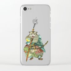 Samurai Cat with a Spear and 2 Swords Clear iPhone Case