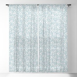 Baby Blue Wite Florals Sheer Curtain