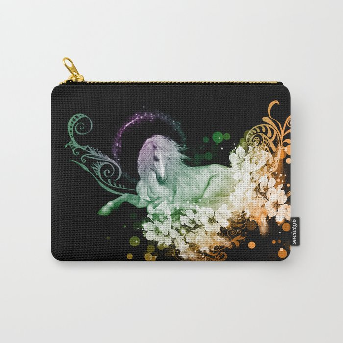 Wonderful unicorn with flowers Carry-All Pouch