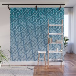 Ombre Tessellation in Blue Wall Mural