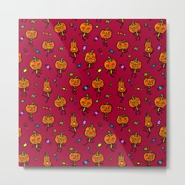 Pattern with dancing pumpkins (on blood red background) Metal Print